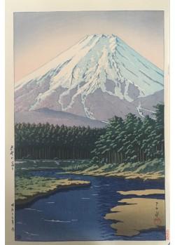 estampes japonaises Hasui Kawase Le mont Fuji vu d'Oshino