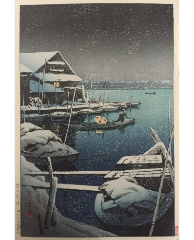 estampes japonaises shin hanga Hasui Kawase Neige à Mukojima
