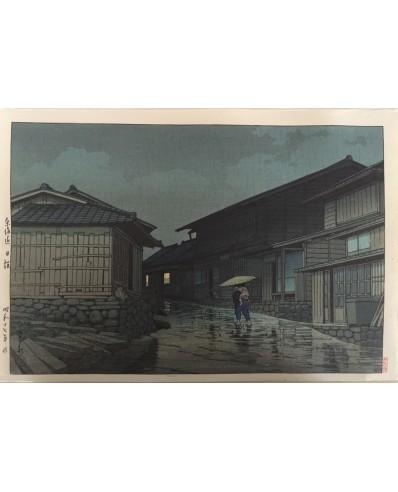 estampe japonaise Hasui kawase Nissaka sous la pluie