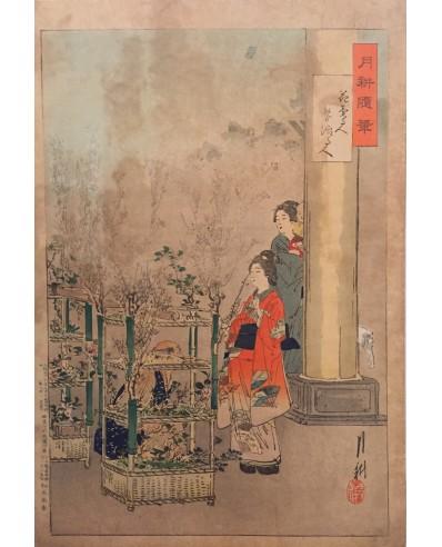 Gekko estampes japonaises Le fleuriste