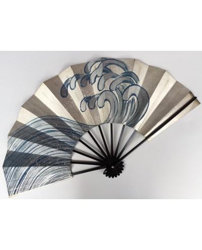 Eventail Ogi d'après la vague de Hokusai