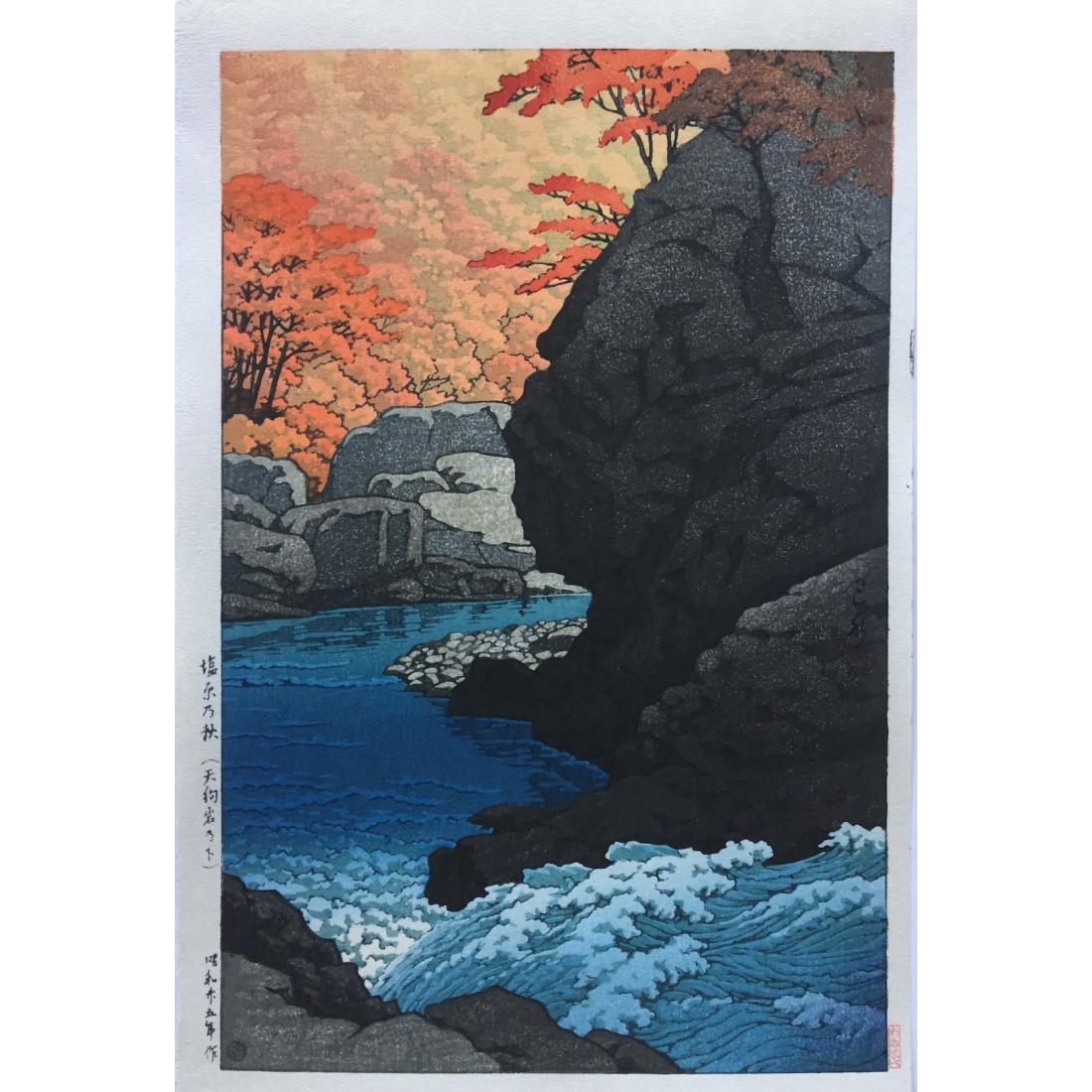 L'automne à Shiobara le rocher du Tengu