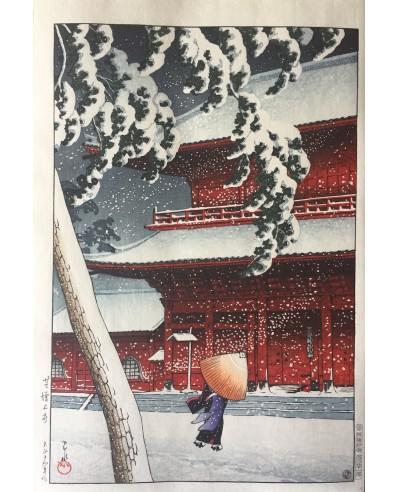 Le temple zojo-ji shiba sous la neige