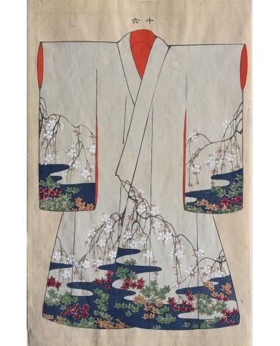 Kimono au motif de jardin