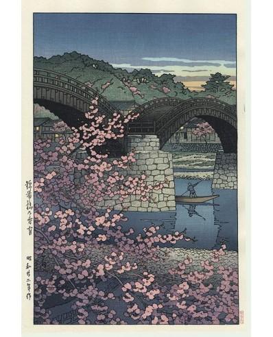 Le pont Kintai un soir de printemps
