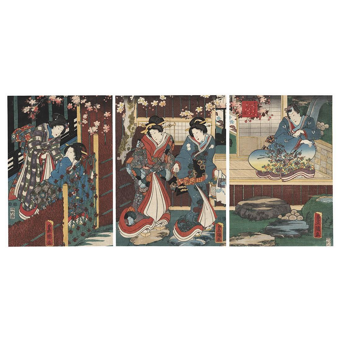 Toyokuni III / Kunisada - Nuit de printemps pour Inaka Genji