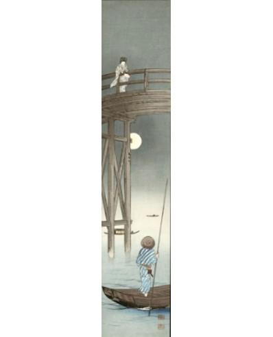 Koho Shoda jeune femme rêvant à la pleine lune sur un pont