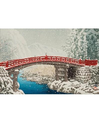 Hasui Kawase : le pont Shinkyo sous la neige