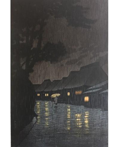 Hasui Kawase - Soir de pluie à Maekawa - Soshu