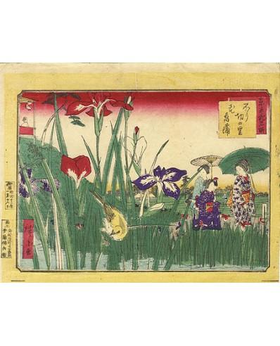 Hiroshige III - Promenade au jardin d'iris