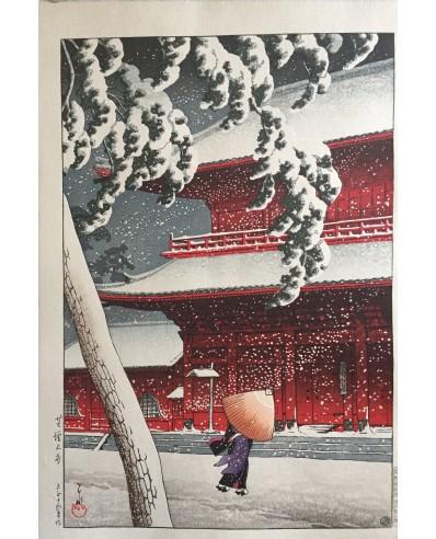 Le tmple zojo-ji shiba sous la neige