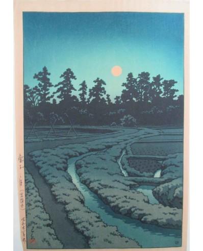 Hasui Kawase - Pleine lune à Ayashi