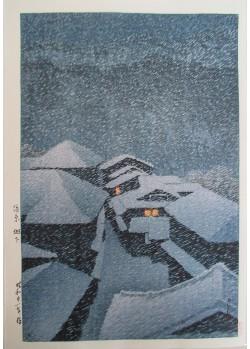 Hasui Kawase - Tempête de neige à Hataori